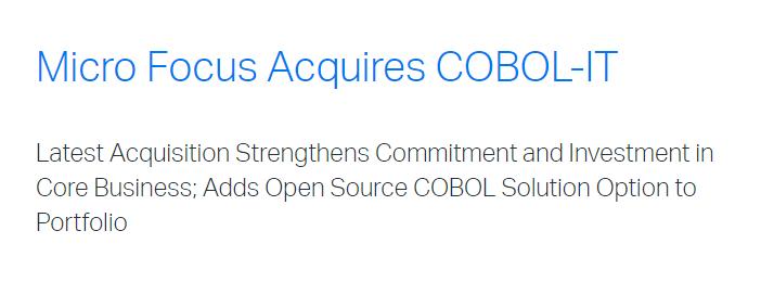 MICRO FOCUS ADQUIERE COBOL-IT
